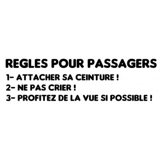 Stickers REGLES POUR PASSAGERS
