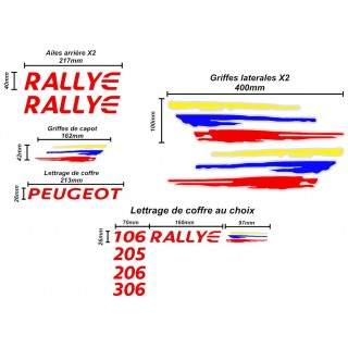 Kit Complet Peugeot Rallye PTS Personnalisable (205 - 206 - 306...)