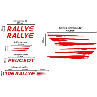 Kit Complet Peugeot 106 Rallye PTS - FULL RED