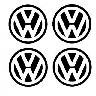 Stickers 4X CENTRE DE ROUE VW 90mm